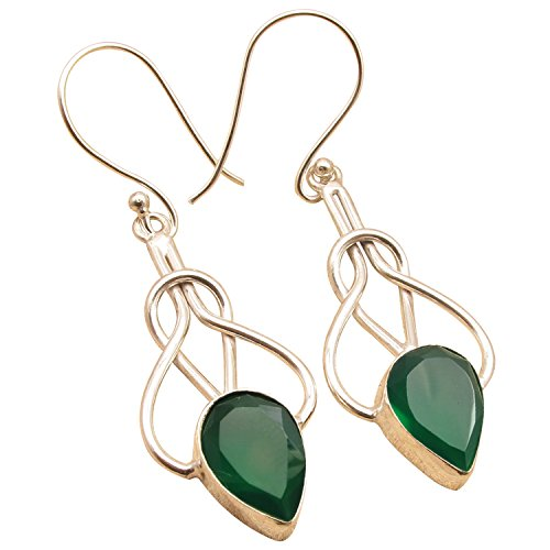 Natural GREEN ONYX Gem TWISTED WIRE SPIRAL Earrings ! 925 Sterling Silver Plated Engagement Jewelry (Dangle Wire Onyx Earrings)