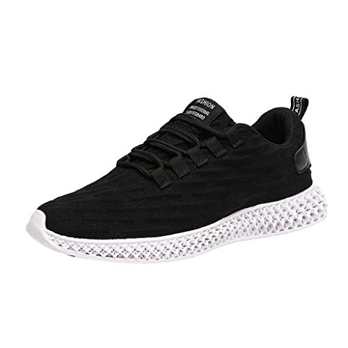 (iHPH7 Shoes Trail Running Non Slip Lightweight Casual Fashion Sneakers Sports Athletic Gym Walking Shoes Breathable Fly Knit Shoes Lightweight Non-Slip Wild Men (44,Black))