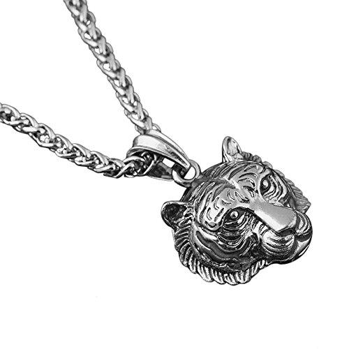 - Alixyz Men Hip Hop Pendant Necklace Vintage Tiger Head Chain Jewelry (Silver)