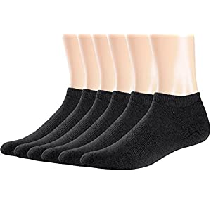 Areke Men's Performance Comfort Cotton No show Low Cut Socks, Knit Sports Casual Soxs 6 to 20 Pack Color 10Pair Assorted Size US Shoe Size 7-11