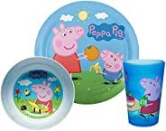 Zak Designs Peppa Pig Kids Dinnerware Set Includes Plate, Bowl, and Tumbler, Made of Durable Material and Perf