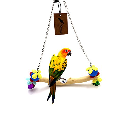 Borange Bird Swing Toys Natural Wood Bridge Parrot Perch Stand Toys Cage Accessories for Small and Medium Birds Budgies Parakeet Cockatiel Conure Love Bird Finches (S: 20cm/8'' perches length) by Borange
