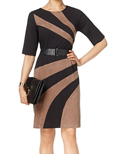 Connected Apparel Womens Colorblock Faux Suede Trim Wear To Work Dress Black 16
