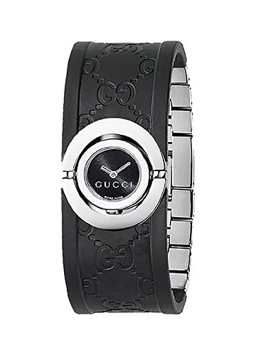 GUCCI Women's YA112518 112 Twirl Collection Black Rubber Bangle Watch
