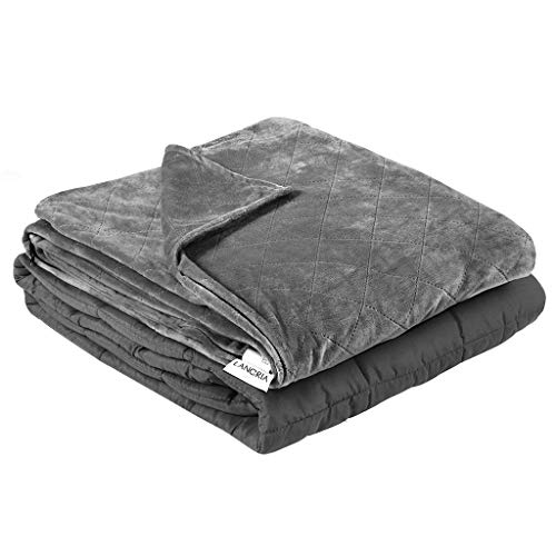 LANGRIA Weighted Blanket 48x72 Inches, 12 lbs with Removable Super Soft Minky Cover and Premium Glass Beads Filling for Adults and Children, Heavy Blanket for Bed Sofa (Twin Size, Gray)