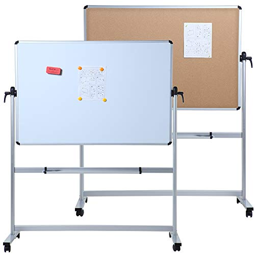 VIZ-PRO Double-Sided Magnetic Mobile Whiteboard & Cork Notice Board Combination, 48 x 36 Inches, Aluminium Frame and Stand