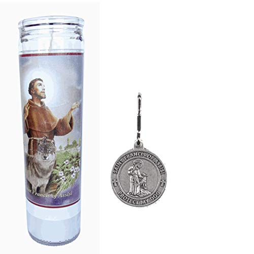 (Gifts by Lulee, LLC Prayer for My Pet St Francis of Assisi 1 Candle Set & St. Francis Dog Medal)