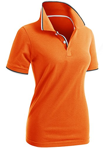 CLOVERY Women's Tennis Wear Short Sleeve Polo Shirts Orange US XL + / Tag XXL ()
