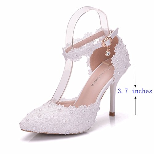 Women High Heels Sandals White Lace Pearls Wedding Shoes Pointed Toe Bridal Shoes White 4ZTFri