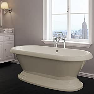 Luxury 60 Inch Freestanding Tub With Traditional Tub Design In Bisque Beige