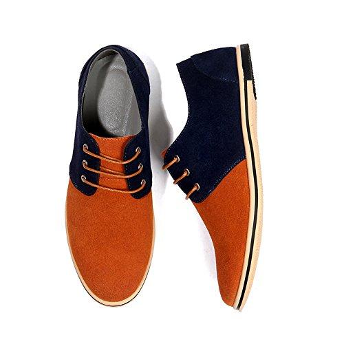 Planos Negocios Cordones Zapatos NXY de Ocasionales Naranja de de de los Zapatos Oxford Hombres Brogues de Zapatos Cuero nnpPUq