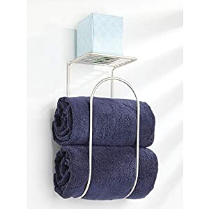 mDesign Modern Metal Wire Wall Mount Towel Rack Holder and Organizer with Storage Shelf – for Bathroom Towels, Washcloths, Hand Towels – Decorative Curved Design – Satin