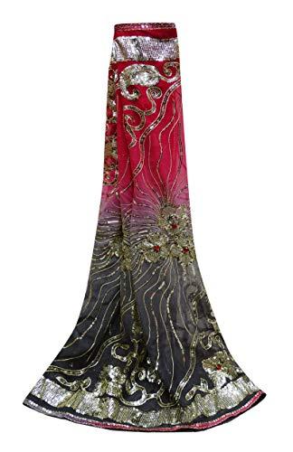 Peegli Indian Designer Scarves Pink Wedding Traditional Dupatta Floral Design Women Vintage Ethnic Sequins Veil Shawl Silk Blend Head Wrap Sewing Fabric