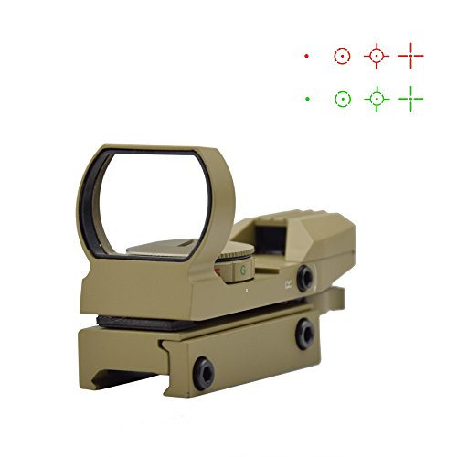(Feyachi 1x33mm Reflex Sight - Dark Earth Tan Scope Sight Both Red and Green & 4 Reticals for Picatinny/Weaver Rails)