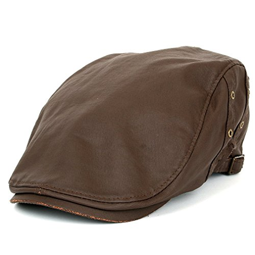 Canvas Newsboy Cap - ililily Vintage Waxed Oil Canvas Flat Cap Ivy Newsboy Hunting Irish Driving Hat (flatcap-538-2)