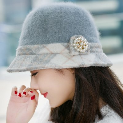 Syksdy Madam Autumn and Winter Knitted Hat Wool Cap Basin Cap Fashion Beret Gray