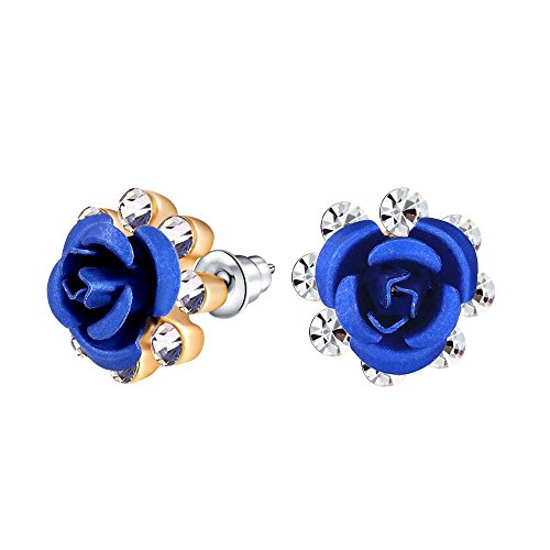 Carfeny Floral Blue Rose Flower Earrings Handcrafted Hypoallergenic Cubic Zirconia Stud Earrings for Women, Anniversary Gift (Blue) ()