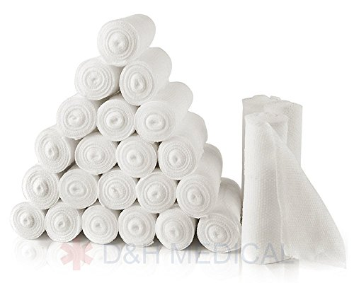[D&H Medical Gauze Stretch Bandage Roll Used For Wound Care Dressing 24 Bulk Pack Easy To Use 4 yds Length x 4 Inch Cotton Ply Rolled Hand] (Pregnant Mummy Costumes)