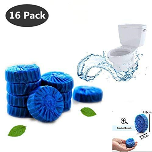 STA_BLUE Antibacterial Blue Automatic Bleach Toilet Bowl Bathroom Cleaner Tablets, Drop in Tank - 16 Pieces