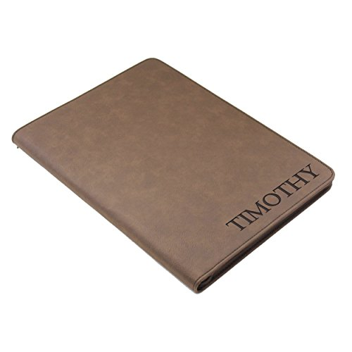 Personalized Portfolio with Zipper, Custom Engraved Padfolio Pad Holder