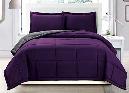 3 piece Luxury Dark Purple / Grey undoable Goose along alternate Comforter set, total / Queen together with Corner Tab Duvet Insert