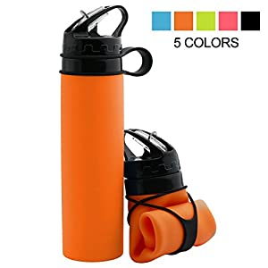 Collapsible Silicone Water Bottle, Sports Water Bottle with Leak-Proof, BPA-Free Medical Grade, Lightweight Bottle for Outdoors, Hiking, Camping, Biking, Sports and Traveling, 600 ML/21OZ