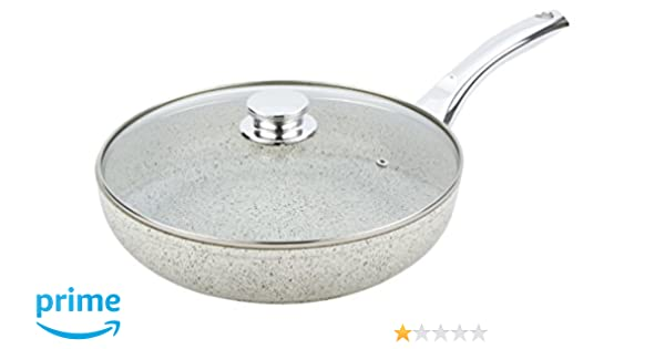Amazon.com: Bisetti BT-38353 Non-Stick Aluminum Stonewhite Frying Pan with Handle Large White: Kitchen & Dining