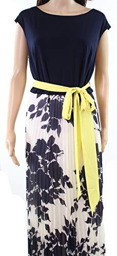 Eliza J Yellow Womens Plus Pleated Belted Maxi Dress Blue 16W