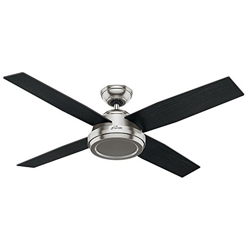 Hunter Indoor Ceiling Fan, with remote control – Dempsey 52 inch, Brushed Nickel, 59249