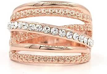 Espere Criss Cross Wave CZ Ring Rose Gold Plating Size 6-9
