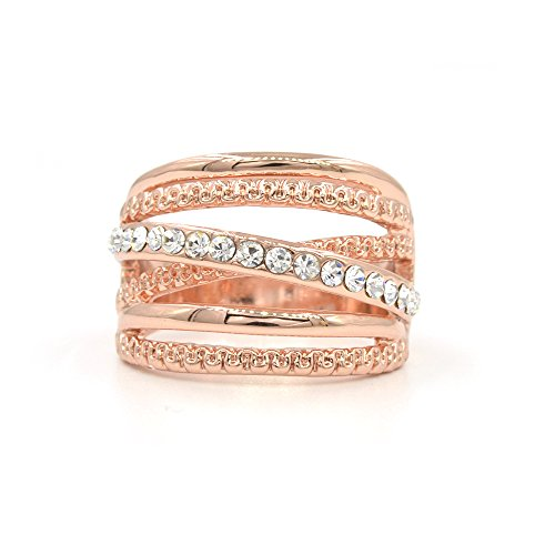 Espere Criss Cross Wave CZ Ring Rose Gold Plating Size 5