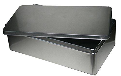 Metalldose Blechdose Groß Uni Silber 285x155x80mm