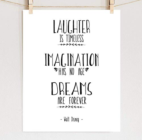Walt Disney Quote Print, Scandinavian Design Fine Art Nursery Wall Art, Sizes 8x10-16x20 **Unframed** ()