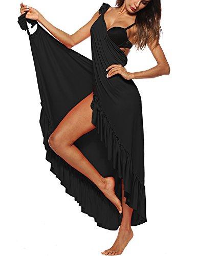 WISREMT Womens Sleeveless Bikini Cover Up Backless Beach Wrap Long Dress