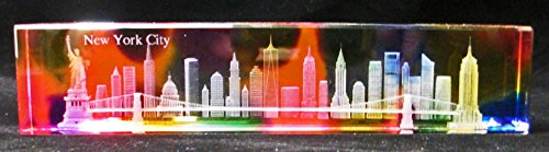 """New York Souvenir NYC Skyline 3D Crystal Laser Etched Glass Paperweight 7"""" W x 1.6"""" H"""