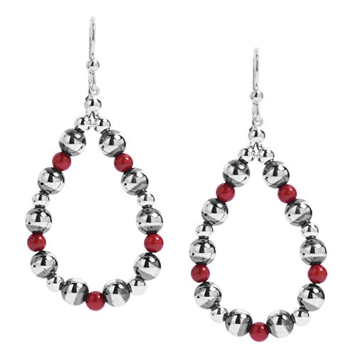 American West Sterling Silver Red Coral Gemstone Hoop Dangle Earrings