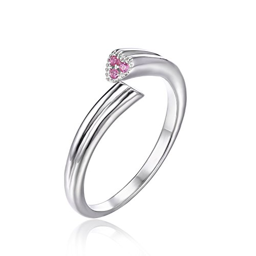 JewelryPalace Women's 925 Sterling Silver 2 Heart Love Created Pink Sapphire Wrap Stackable Ring Size 6 - Pink Sapphire Stackable Ring