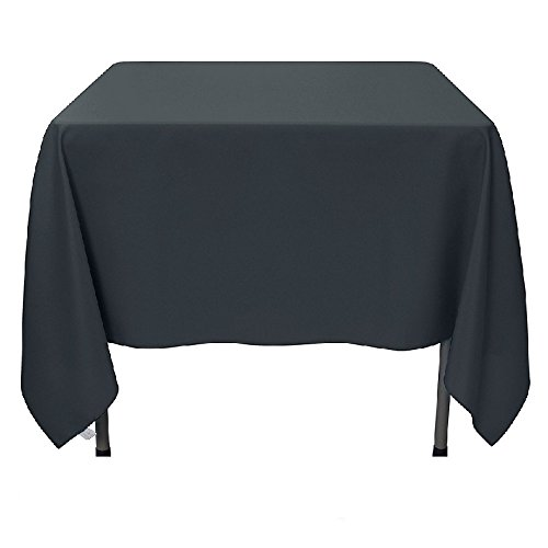(Gee Di Moda Square Tablecloth - 70 x 70 Inch - Charcoal Square Table Cloth for Square or Round Tables in Washable Polyester - Great for Buffet Table, Parties, Holiday)