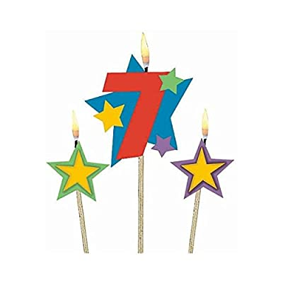 "Amscan Birthday Celebration, #7 Decorative Pick Candles, Party Supplies, Multicolor, 7"" 3ct: Birthday Candles: Kitchen & Dining"