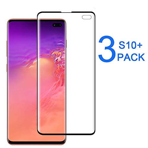 [3-Pack] Galaxy S10 Plus Screen Protector, [Case Friendly] [Bubble Free][Solution for Ultrasonic Fingerprint] Touch Sensitive, Easy Install PET Film Screen Protector for Samsung Galaxy S10 Plus