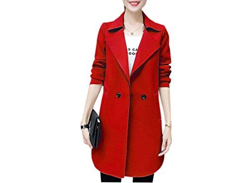 Femme En Coton Overcoat Wind Acvip Veste Rouge Longue Coat Blouson PdPqZw