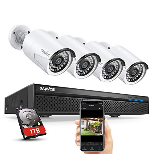 Expandable 5MP 8CH True POE Security Camera System 4x2MP Surveillance Indoor Outdoor Cameras,Built-in Microphone,100FT Night Vision for 7/24 Recording,H.264+ to Save Storage,1 TB Hard Drive Included ()