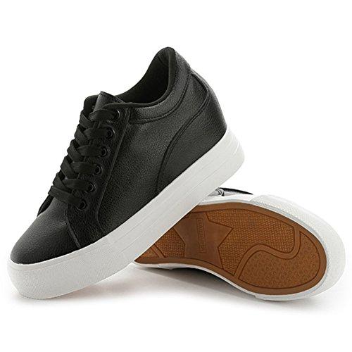 Buganda Damesmode Leren Sneakers Casual Veterschoenen Wit Zwart Platte Schoenen Hoge Top Verborgen Hakken Sleehakken Plateauzolen Zwart 2