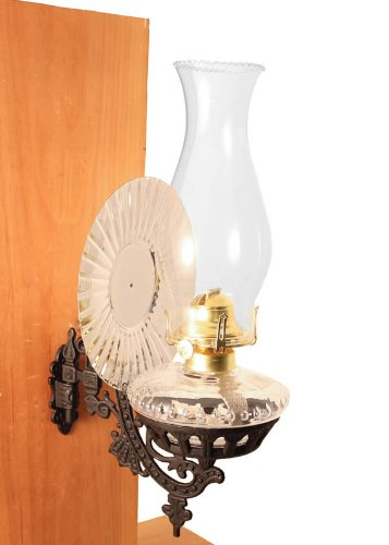 Victorian Oil Lamp - Clear w/Reflector Wall Mount - Vintage Hurricane Lamps (Wall Mount Kerosene Oil Lamps compare prices)