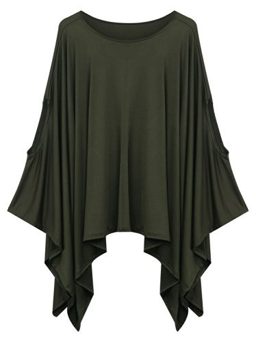 Women\'s Solid Color Loose Plus Size Poncho Cape Top Blouse Dress Army Green M