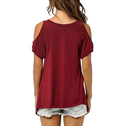 Vobaga Mujeres Casual V-cuello del Hombro de la Camiseta de Manga Corta Sólido Stretch Camiseta Tops Rojo