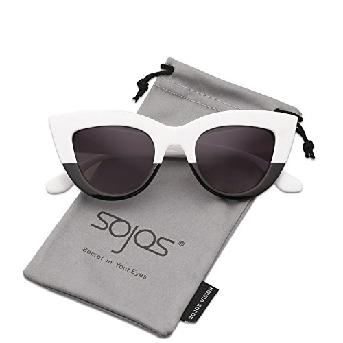 SojoS Retro Vintage Cateye Sunglasses for Women Plastic Frame Mirrored Lens SJ2939 With White&Black Frame/Grey Lens (And Black Retro White)