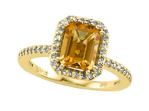 Genuine Citrine Ring by Effy Collection 14kWhite Gold Size 6.5