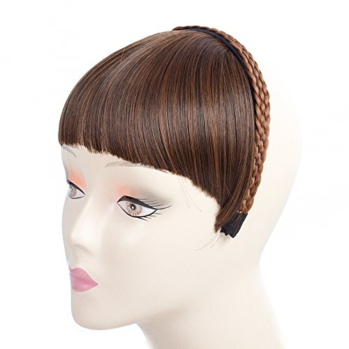 LOSMOEER Fashion Headband Neat Bangs with 4 Strands Braided Headband Forehead Synthetic Hair Extensions for Girls (Bangs with Hairband, Brown (Headband Hair Extensions)