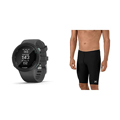 Garmin Swim 2, GPS Swimming Smartwatch for Pool and Open Water, Underwater Heart Rate, Records Distance, Pace, Stroke Count and Type & Speedo Men's Swimsuit Jammer Endurance+ Solid USA Adult